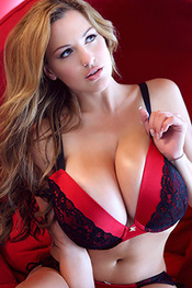 Jordan Carver in Red Bra with Black Lace for Pinup Files